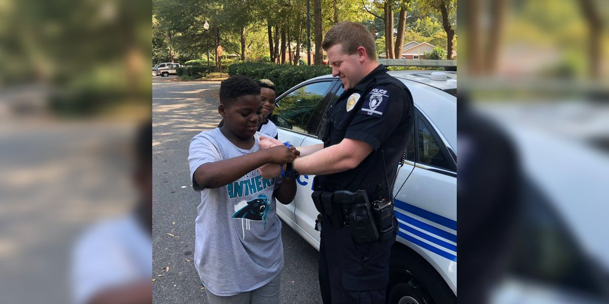 He wants to be a police officer when he grows up, so he arrested a CMPD officer for practice