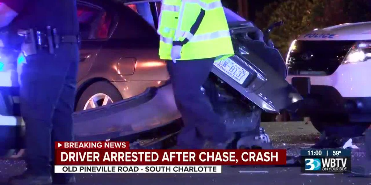 Wanted suspect arrested after crashing into car, running from Charlotte police