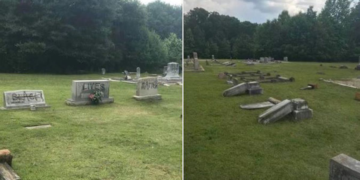 'Black Lives Matter' spray-painted on tombstones at South Carolina cemetery; stones knocked over