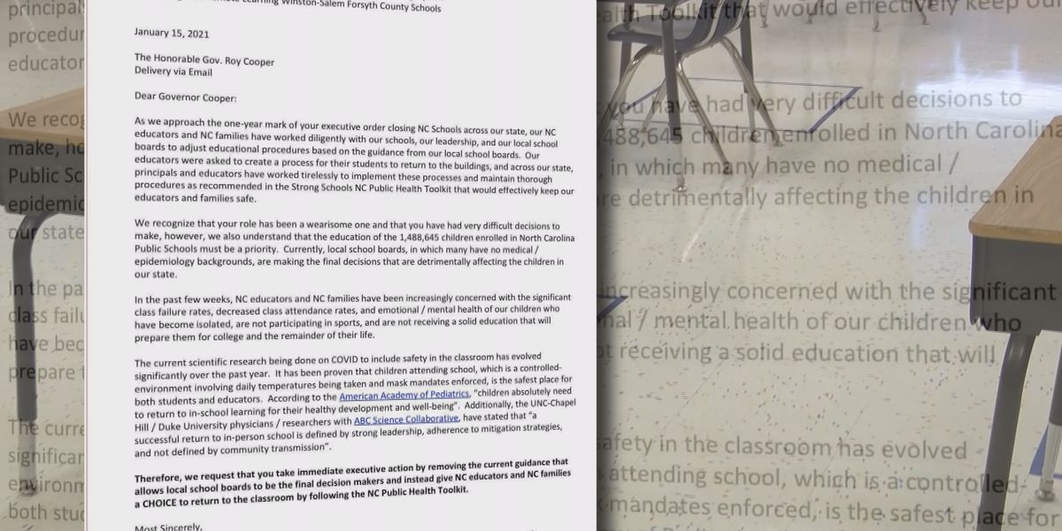 Thousands of CMS parents sign letter to governor asking for choice to send kids to in-person learning