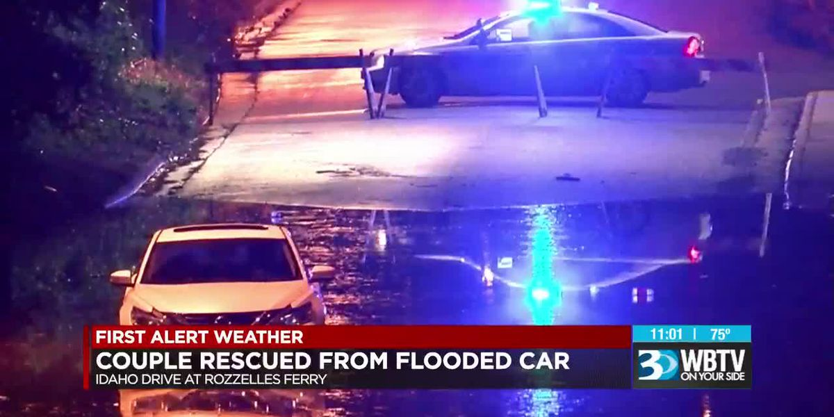 Driver, passenger rescued from car after getting stuck on flooded road in Charlotte