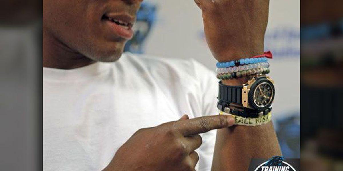 Newton still wears hospital bracelet from 2014 crash