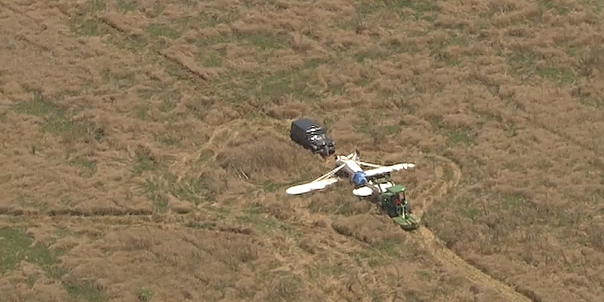 Plane tips over after wheels get tangled in tall grass in Union Co.