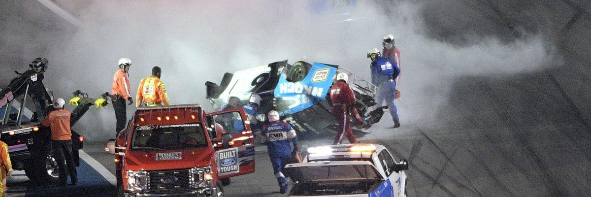Denny Hamlin wins Daytona 500 ahead of serious crash involving Ryan Newman on final lap