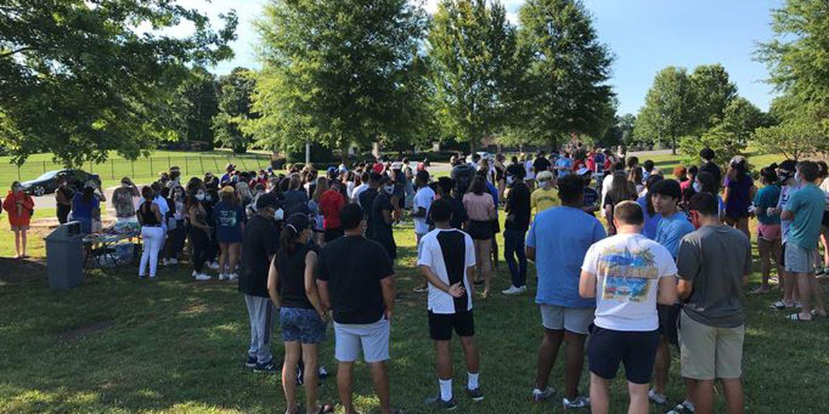 Students protest at Marvin Ridge HS after 'Black Lives Matter' school rock defaced