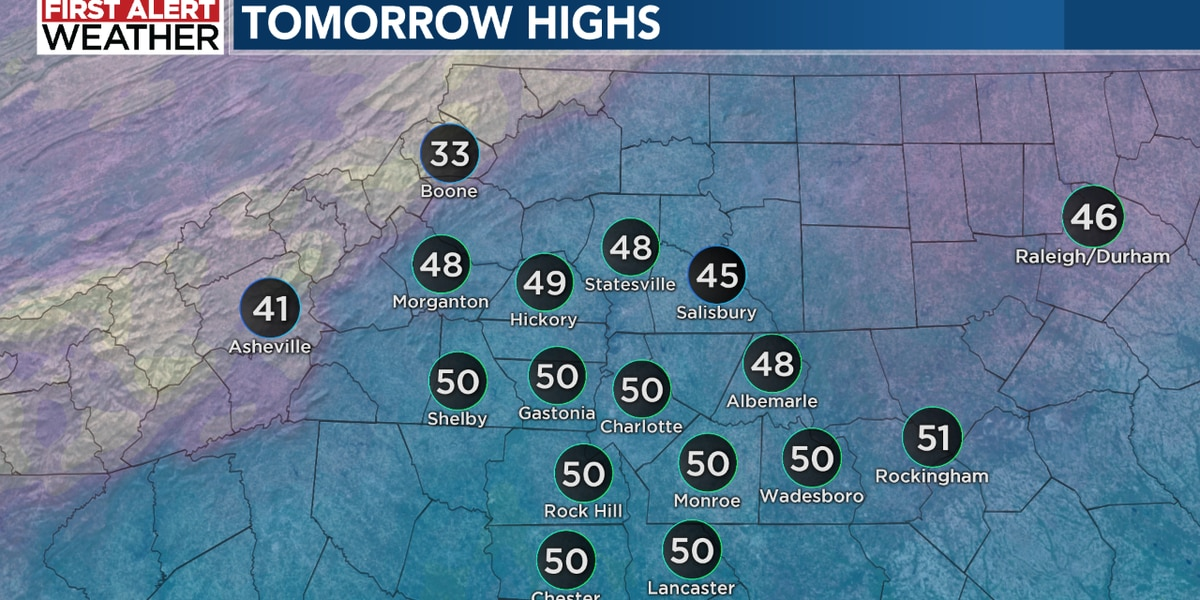 First Alert Monday: Scattered rain for the Piedmont, with snow in the mountains
