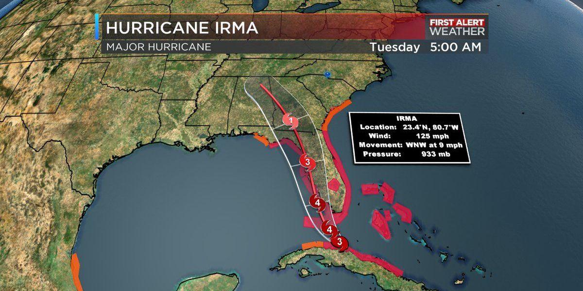 Hurricane Irma approaching coast of Florida