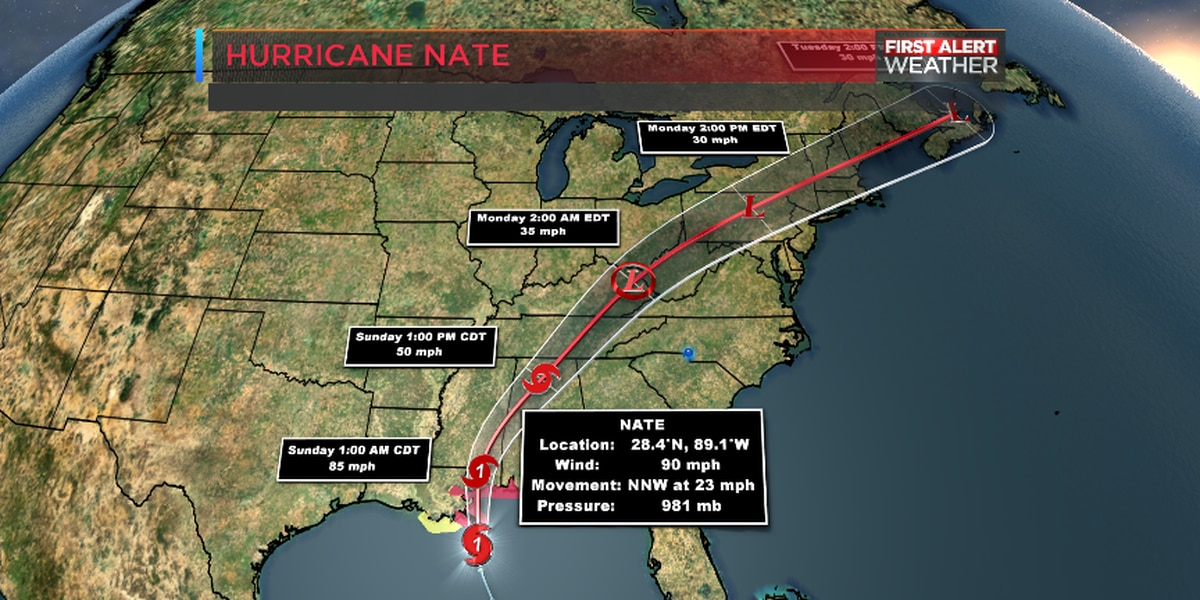 Nate closing in on the Gulf Coast