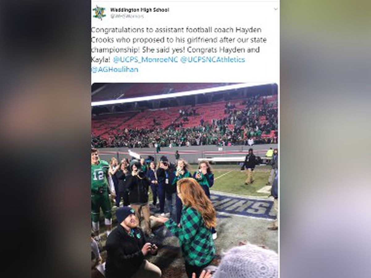 Weddington assistant football coach proposes moments after state title win