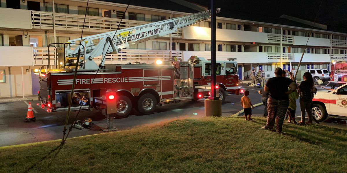 34 firefighters control heavy fire at motel in Charlotte