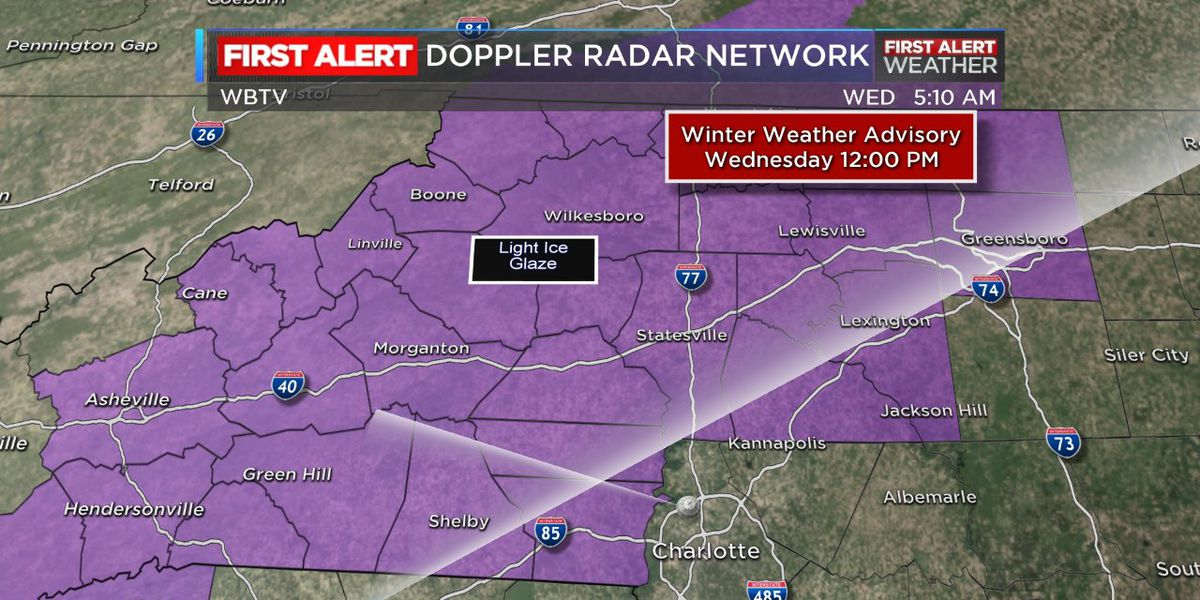 Winter weather advisory in effect counties north, west of Mecklenburg Co.