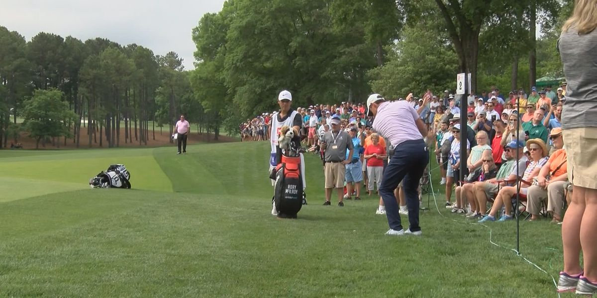 Fans enjoy a beautiful Friday at the Wells Fargo Championship