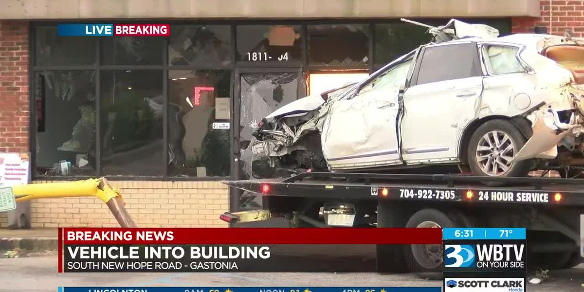 Person crashes into building in Gastonia