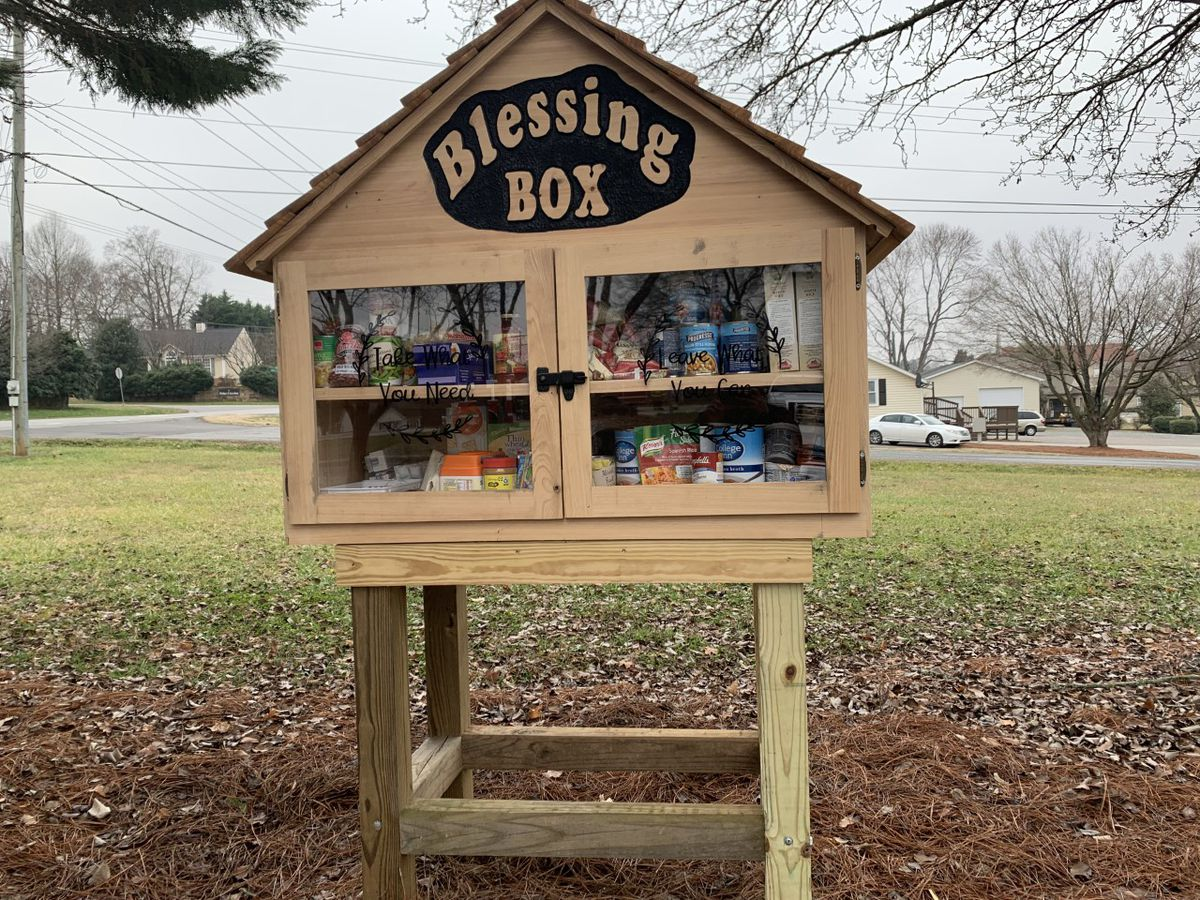 """Take what you need, leave what you can:"" Blessing Box installed to help those in need in Cabarrus Co."
