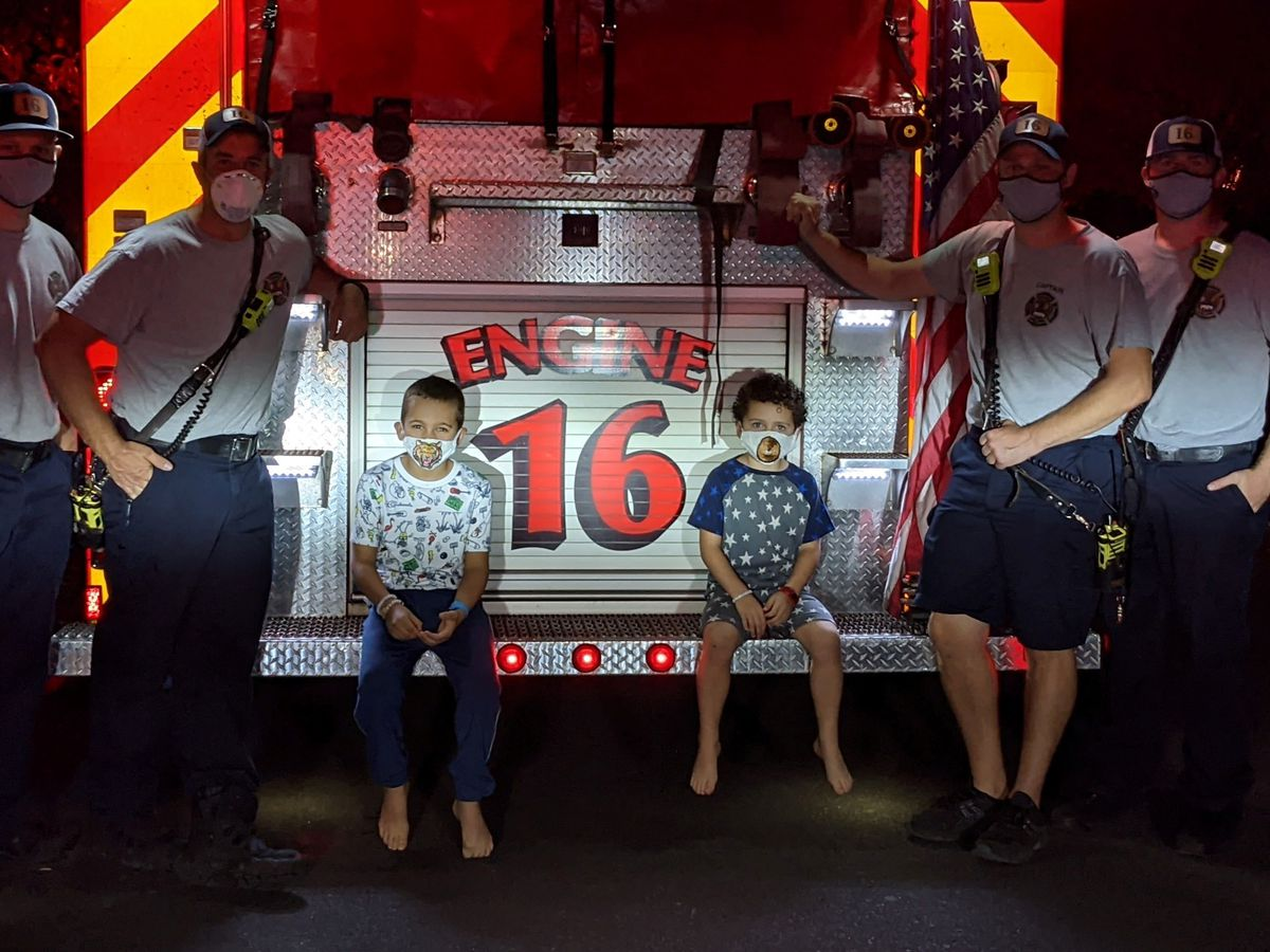 Virtual school assignment comes to life, when firefighters show up at dinner