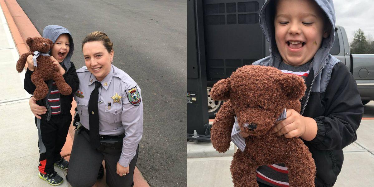 Sergeant lets boy sit in patrol car, gives him new teddy bear
