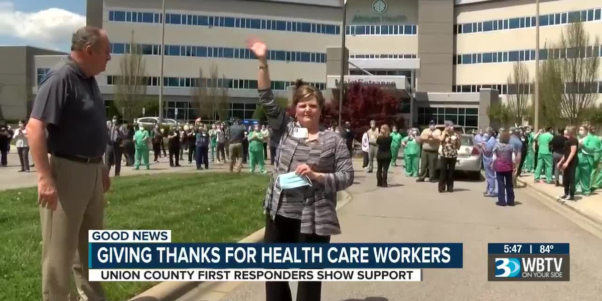 Union County first responders thank healthcare workers in surprise procession to hospital
