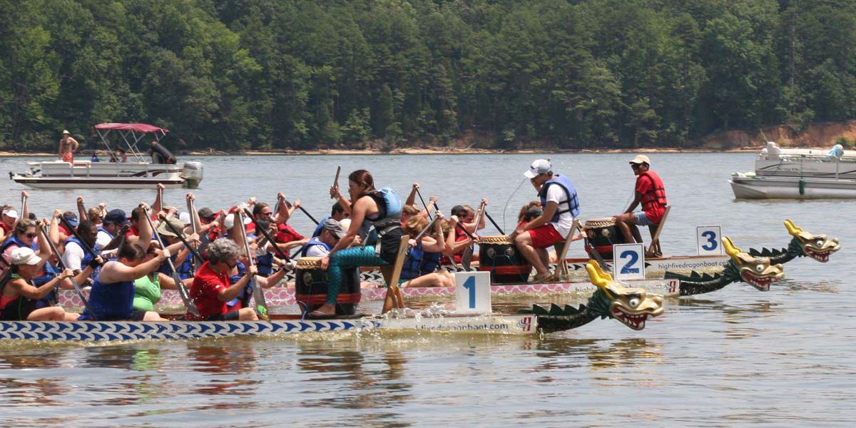 Dragon boats hit the water in Rowan County on Saturday