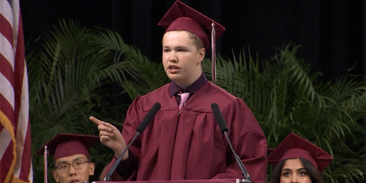 Autistic teen who is usually nonverbal gives powerful speech at high school graduation