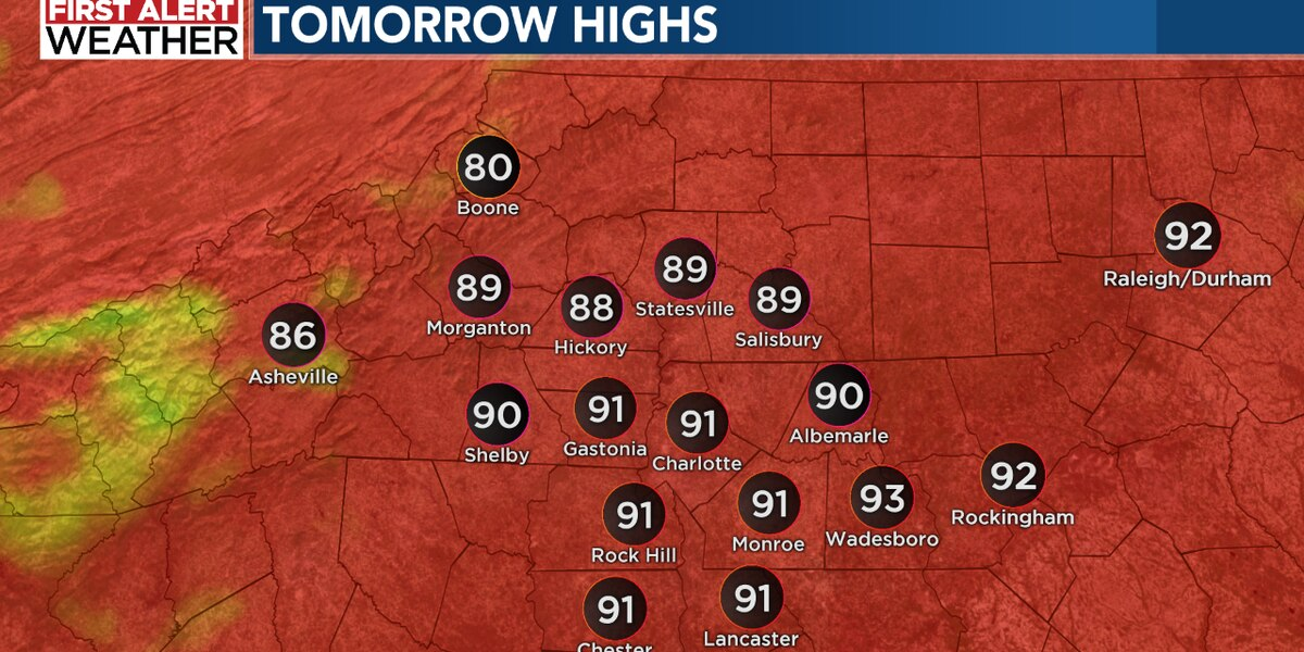 Isolated to scattered storms are expected for the late day hours