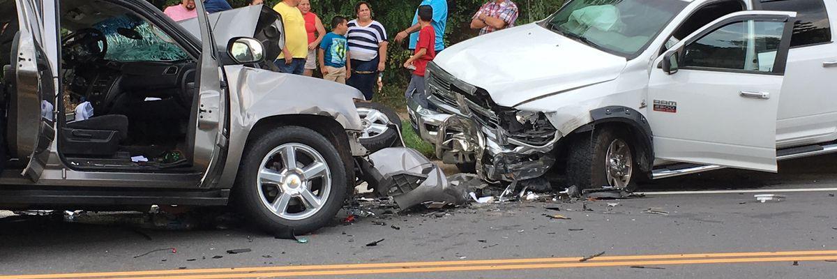 Person suffers two broken legs in three-car crash