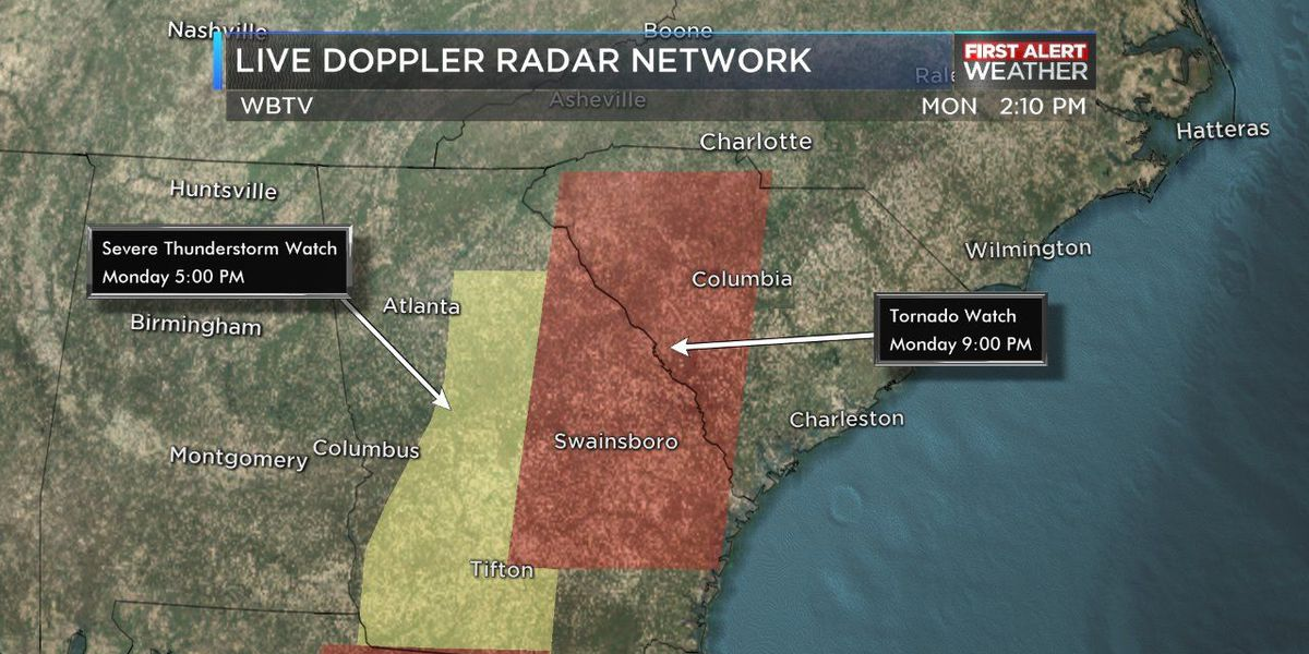 Tornado Watch in effect for portions of the WBTV viewing area