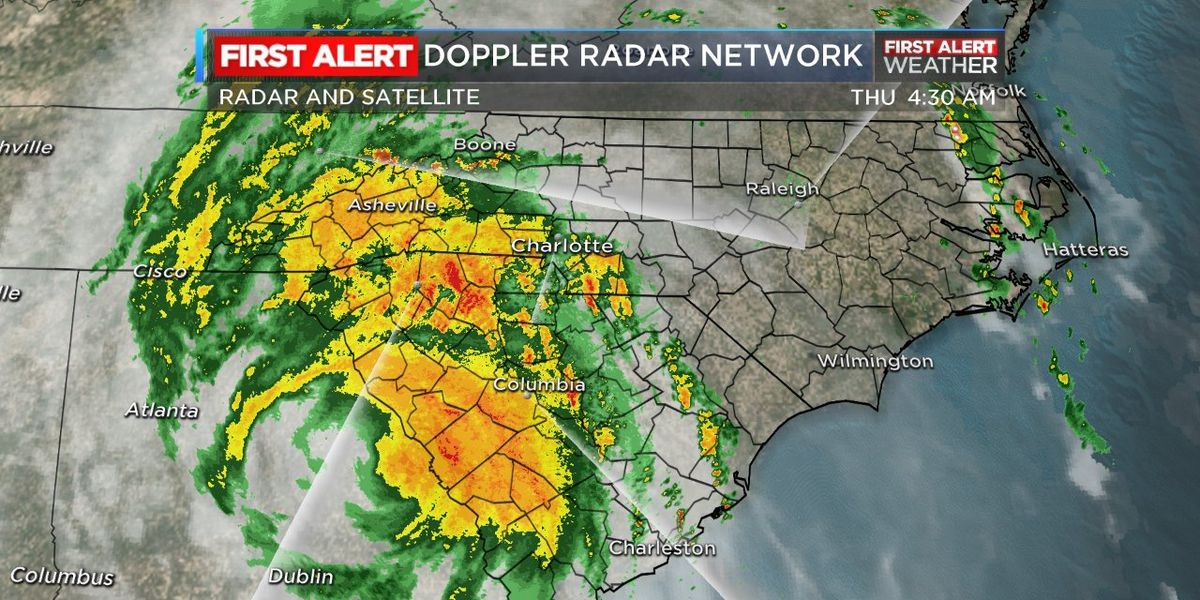Tracking Michael: Michael moves into the Carolinas with strong 50 mph winds