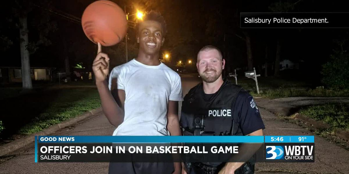Salisbury police officers join in on basketball game after responding to complaints