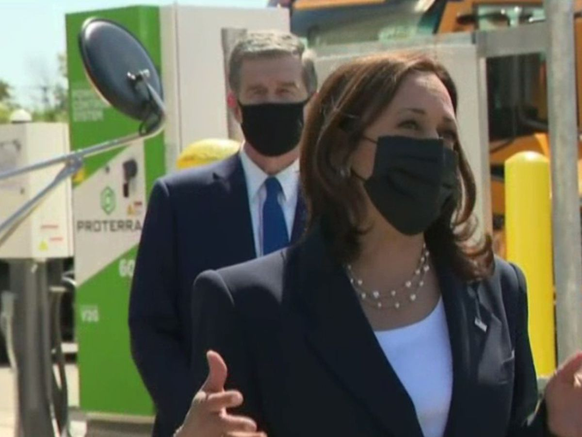 """VP Kamala Harris visits N.C. to discuss American Jobs Plan, tour electric bus facility """"There isn't only one path to success"""""""