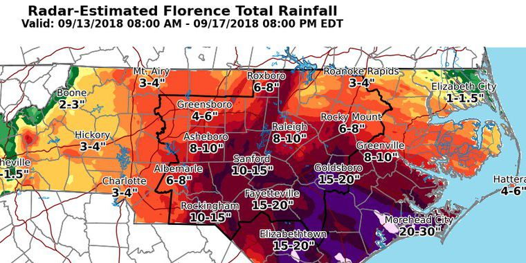 Unofficial rain totals show Florence dropped 8.04 trillion gallons across NC