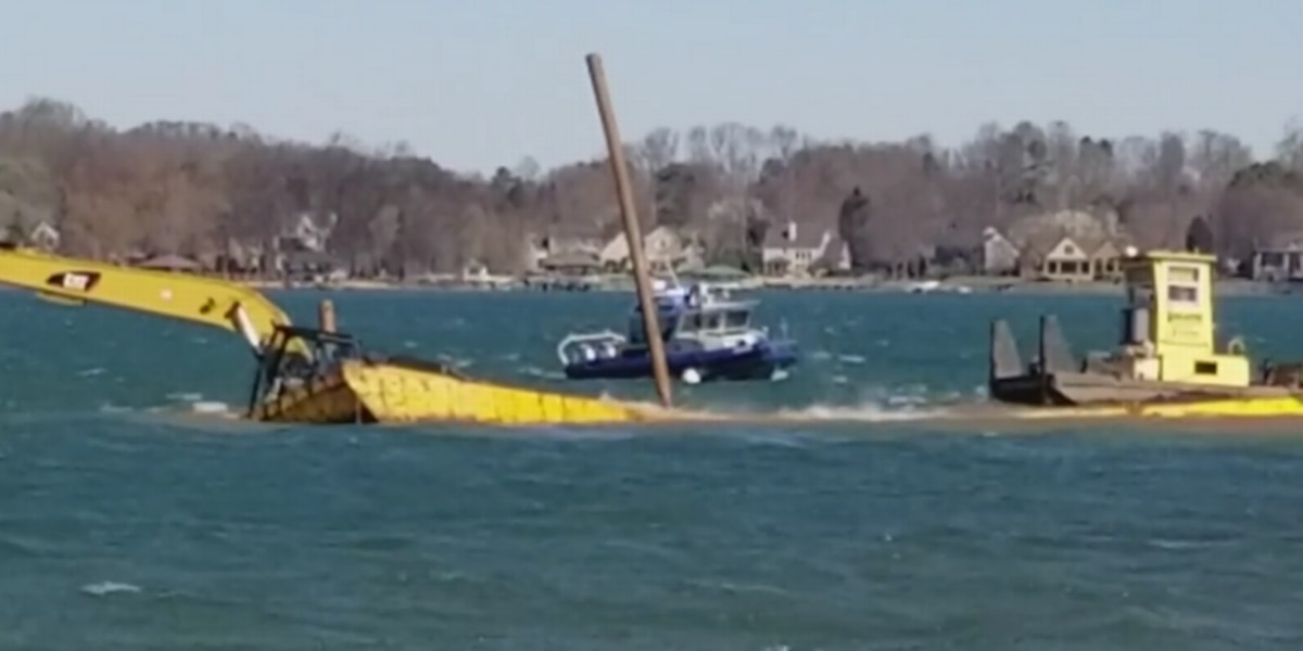 Video shows barge sink on Lake Norman amid 4 ft waves, 50 mph wind gusts