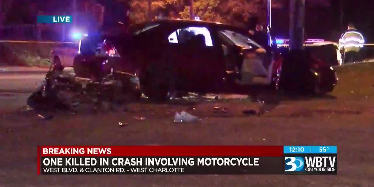 Person killed in motorcycle crash in Charlotte, road closed