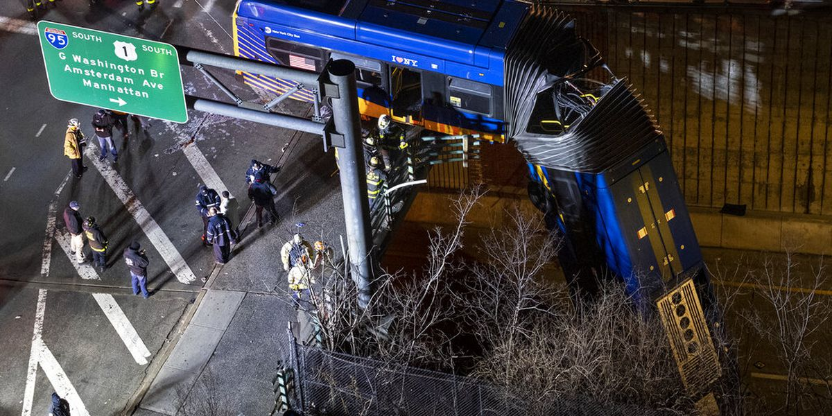 New York City bus dramatically plunges off bridge; driver, passengers hurt