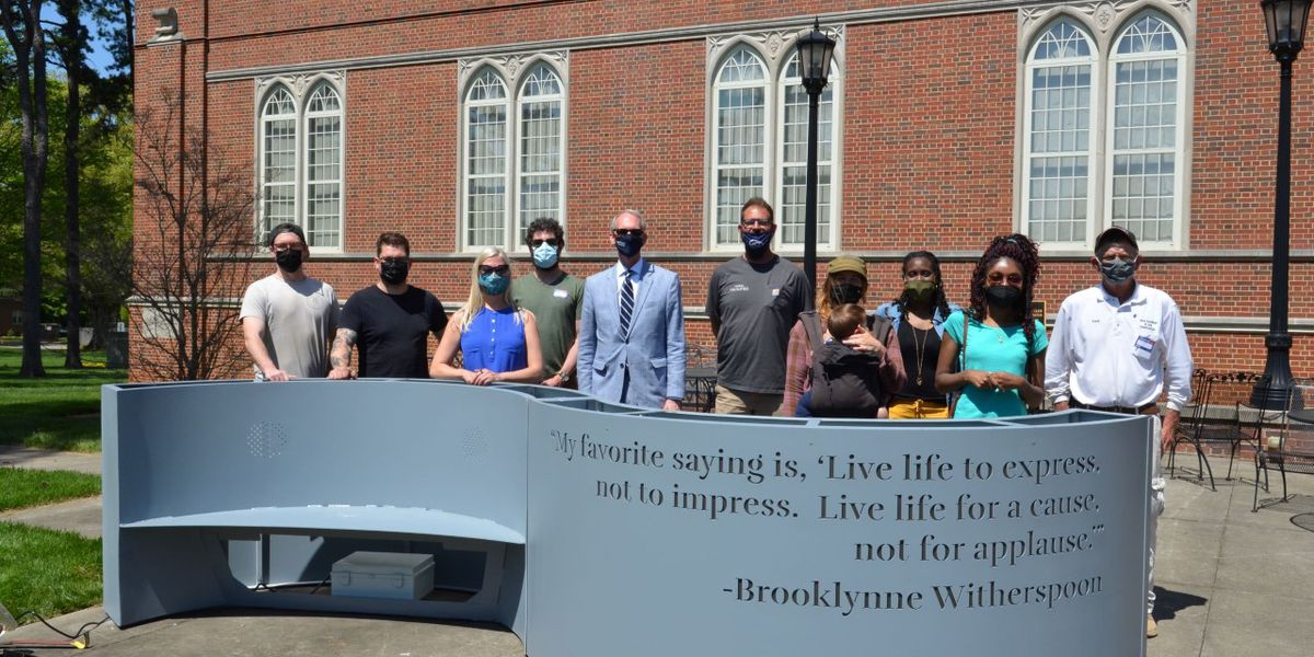 Catawba College receives audio embedded sculptural bench in county-wide diversity project