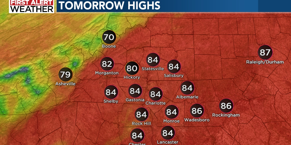 Warm with a few showers for Sunday, FIRST ALERT issued for late Tuesday