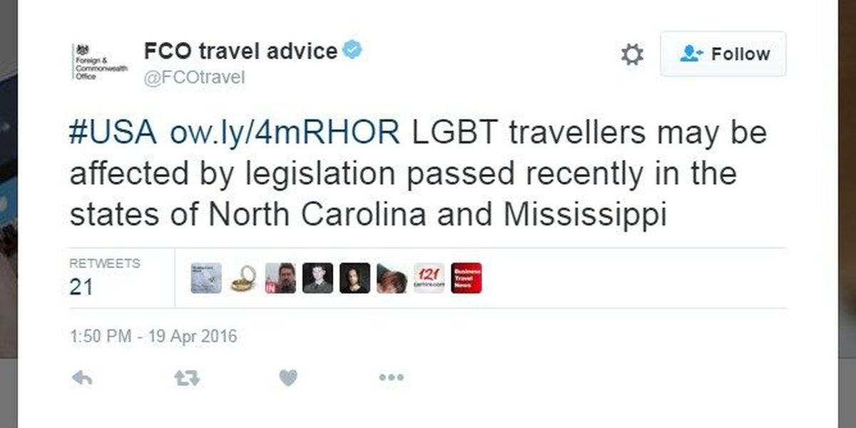 British government issues warning to LGBT travelers about NC, Miss.