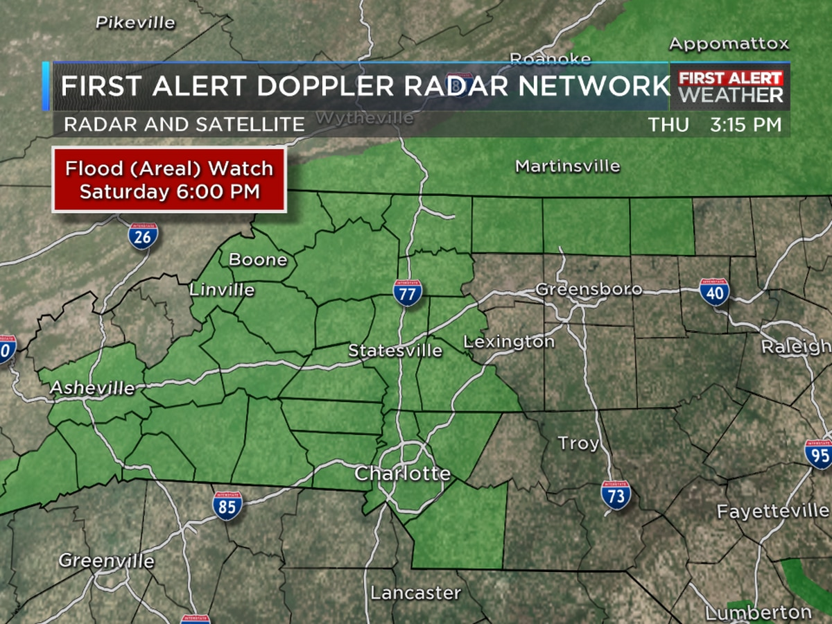 Flood Watches issued for NC counties starting Friday