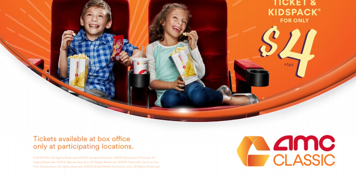 $4 AMC kids deal includes movie ticket and snacks