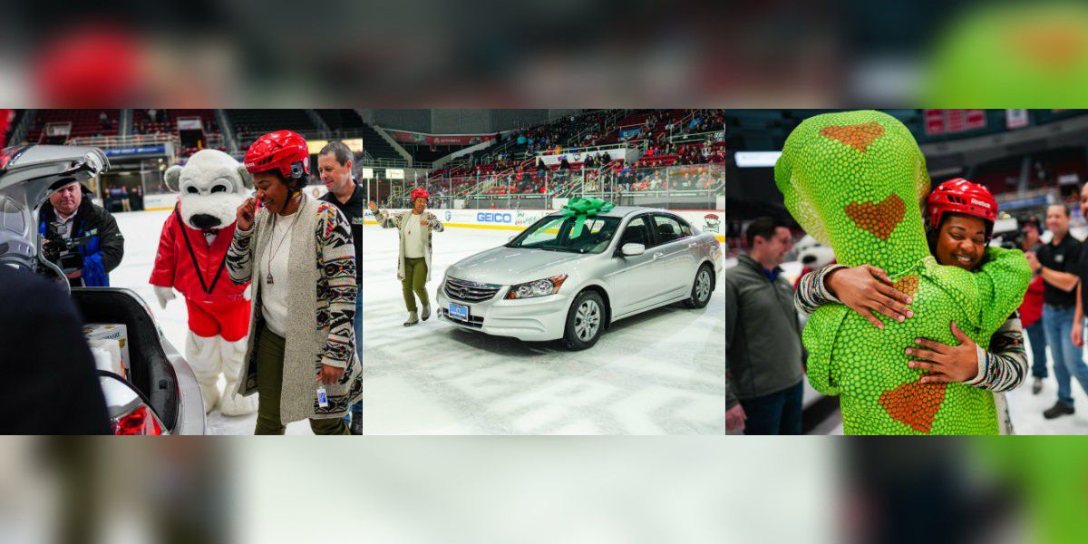 Local Navy Veteran surprised with car at Charlotte Checkers game