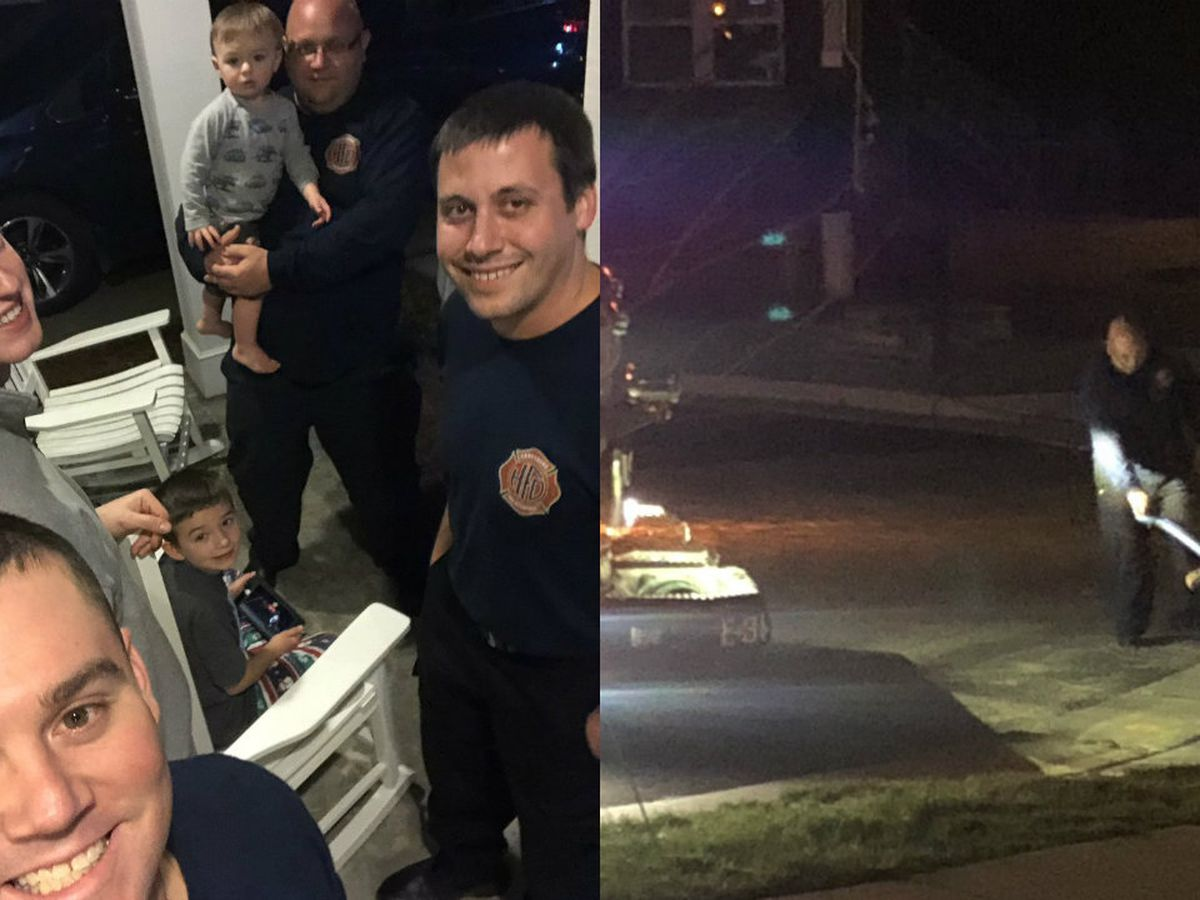 With parents taken to hospital, firefighters watch over boys until grandpa arrives