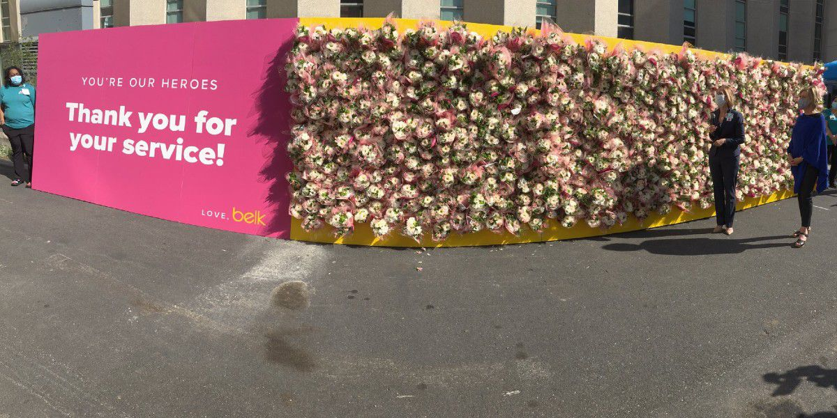 30-foot-long wall of flowers dedicated to healthcare workers in Charlotte