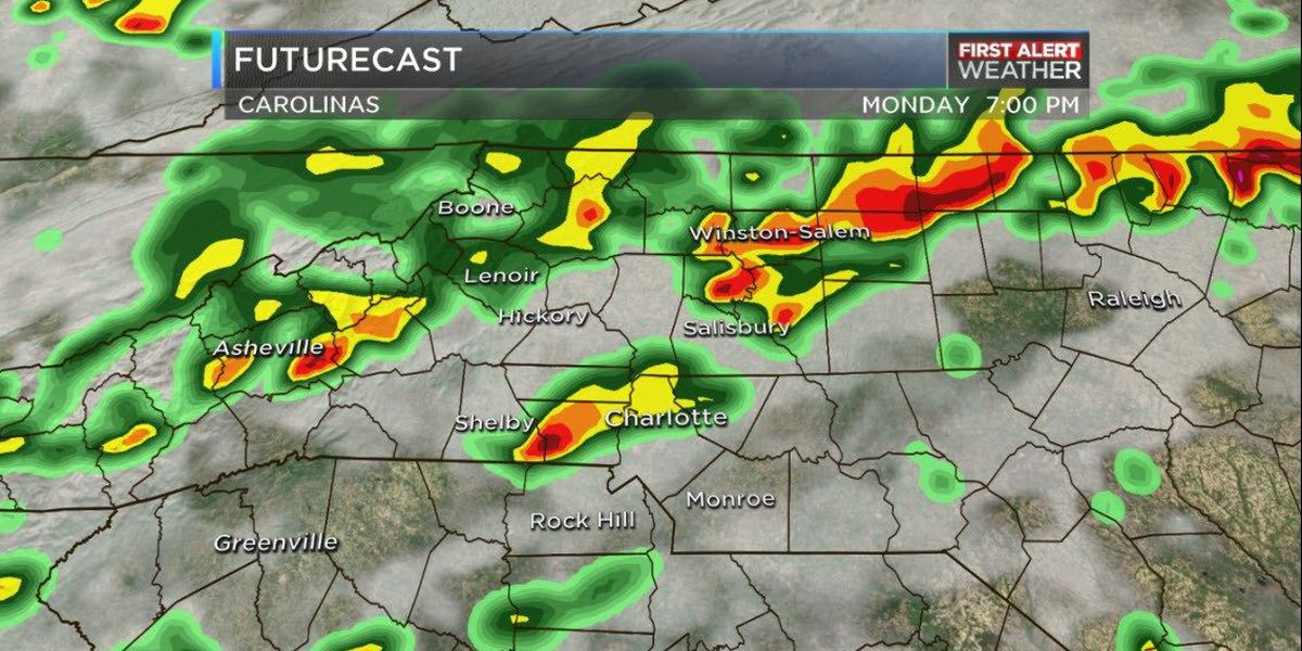 First Alert: Showers, thunderstorms roll across WBTV viewing area Monday