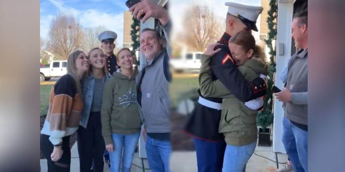 Video: N.C. Marine photobombs family picture to surprise mom for Christmas