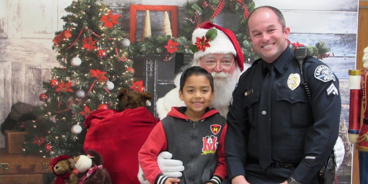Kannapolis Police officers collecting for Toys for Tots Christmas program
