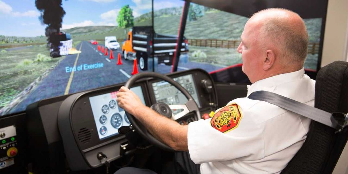 Emergency responders train on driving simulator at Rowan-Cabarrus Community College