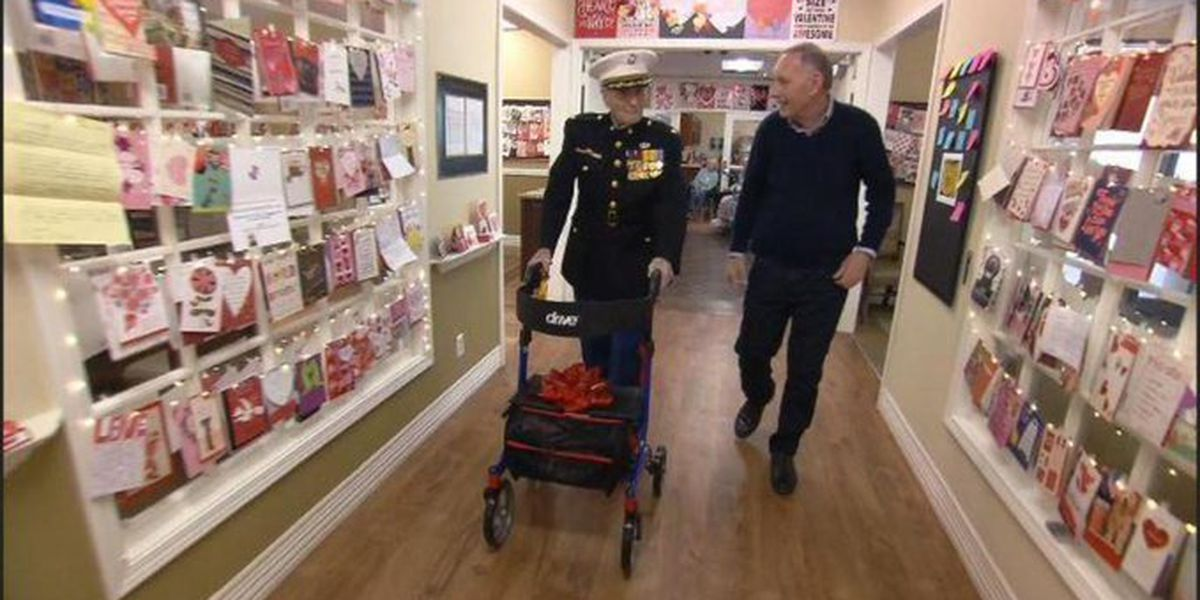 104-year-old Marine surprised with thousands of Valentine's Day cards