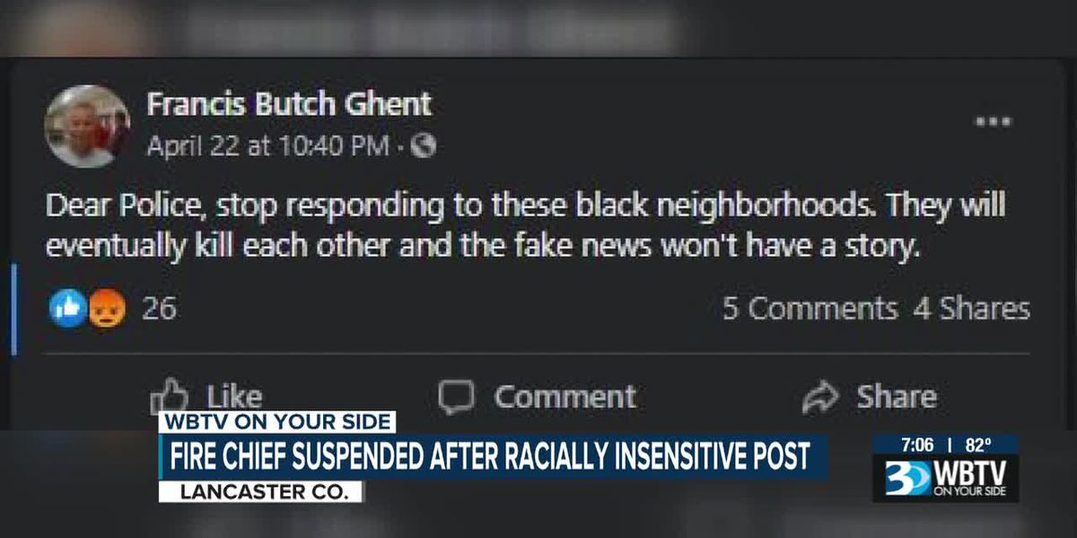 S.C. fire chief suspended after racially insensitive post