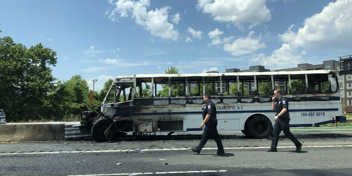 Elderly passenger killed, multiple injured following accident, bus fire along I-77