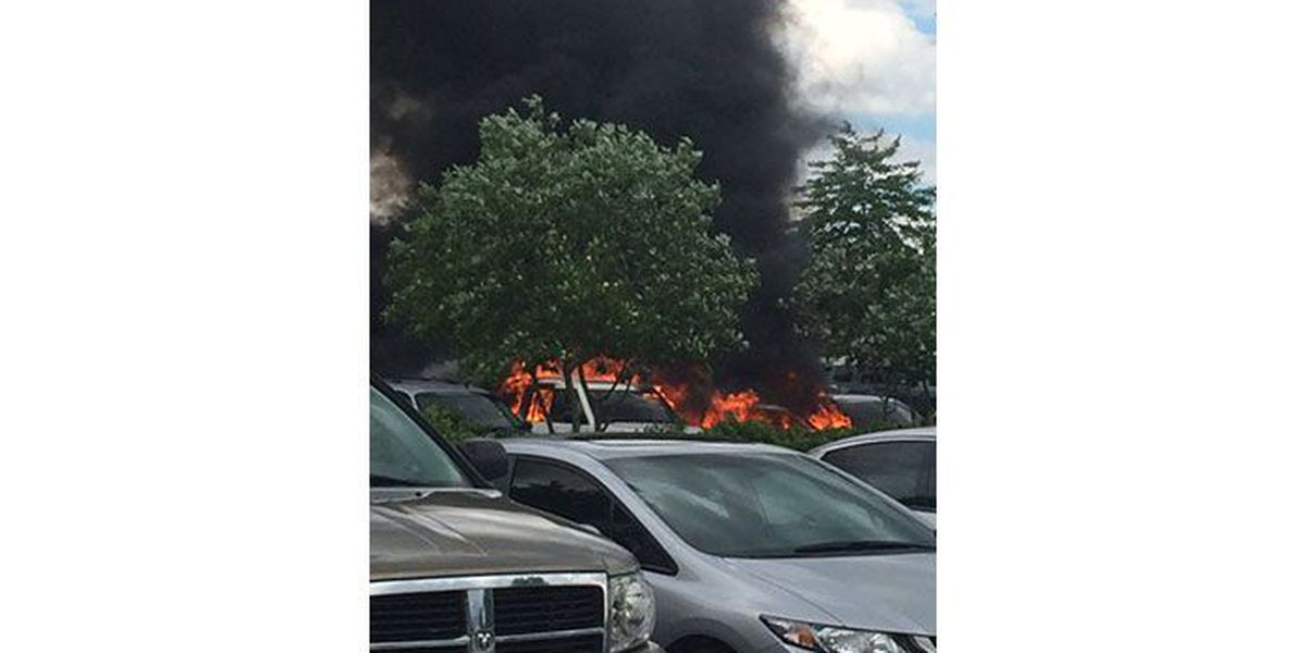 Vehicles destroyed in fire in Huntersville parking lot