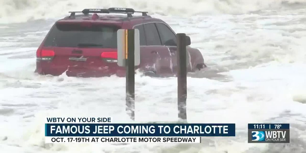Red Jeep that gained fame during Hurricane Dorian to appear at Charlotte Motor Speedway